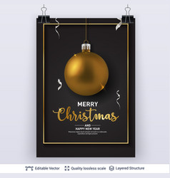 Golden christmas ball and text on dark background vector