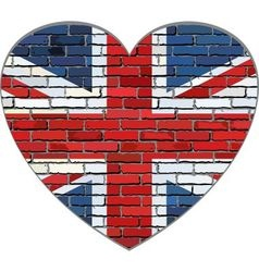 Great Britain flag on a brick wall in heart shape vector