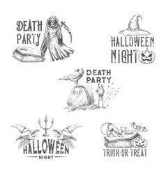 Halloween night party sketch icons vector