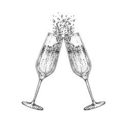 Hand drawing two clinking champagne glasses vector