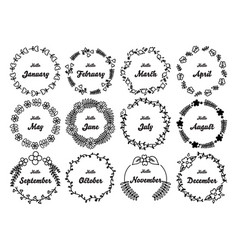 hand drawn floral round frames set vector image