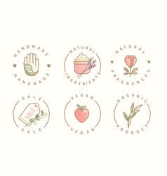 handmadenatural ingredientssaleorganic logo vector image