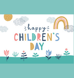 happy children day cute greeting card vector image