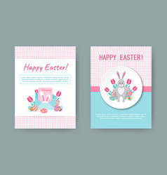 Happy easter greeting cards vector