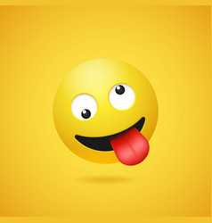 Happy smiling crazy emoticon with stuck out tongue vector