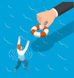 isometric big hand giving a lifebuoy to help vector image