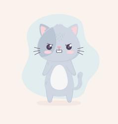kawaii cartoon expression cat angry character vector image