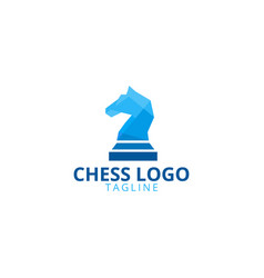Knight chess logo design template vector