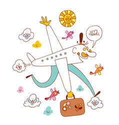 Lets travel fun airplane cartoon vector