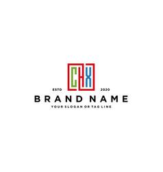 Letter chx square colorful logo design vector