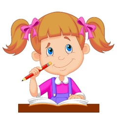 Little girl cartoon studying vector