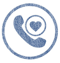 Love phone call rounded fabric textured icon vector