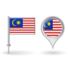 Malaysian pin icon and map pointer flag vector