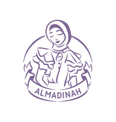 Muslim fashion logo girl with hijab vector