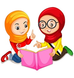 Muslim girls reading a book vector