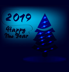 new year 2019 background in blue colour vector image