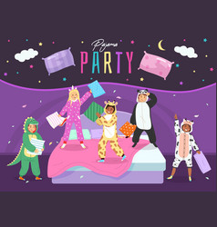 pajama party happy children fight with pillows vector image