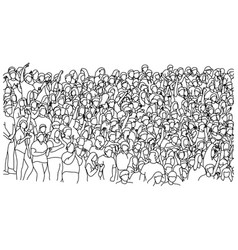 people standing on stadium sketch vector image