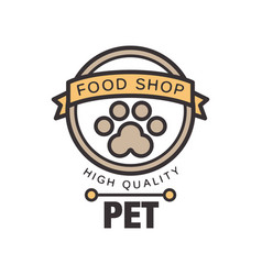 Pet food shop logo template design brown badge vector