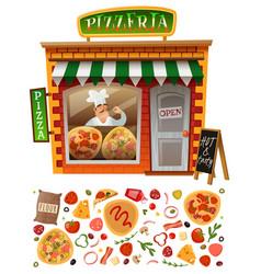 Pizzeria shop facade vector