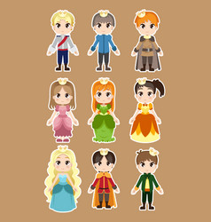 Prince and princess characters vector
