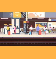 Railway station interior with people passengers vector