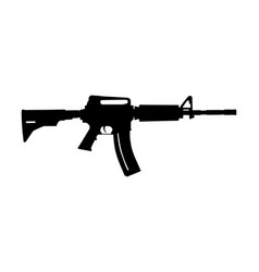 Rifle silhouette isolated on white military weapon vector