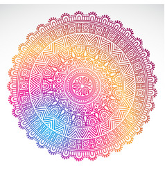 Round gradient mandala on white isolated vector