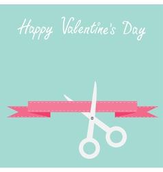 Scissors cut decorative pink ribbon with dash line vector