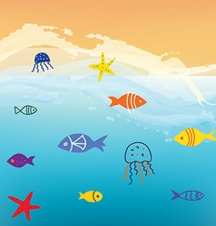 Sea and fishes funny background with waves vector image