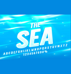 Sea font set collection letters and numbers vector