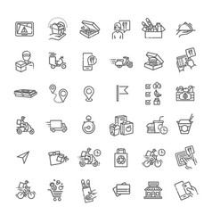 set food delivery line icons vector image