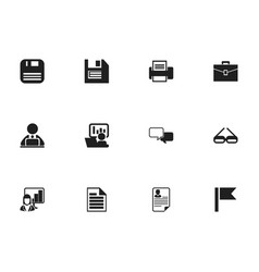 Set of 12 editable office icons includes symbols vector