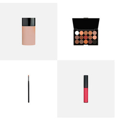 set of cosmetics realistic symbols with make-up vector image