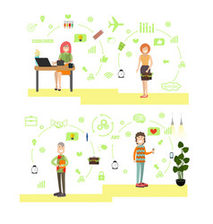 Set of creative team people in flat style vector