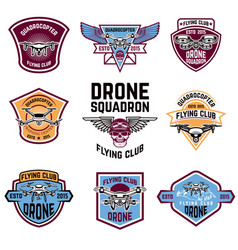 Set of drone flying club emblems vector