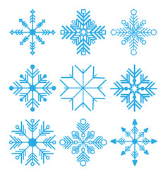 set of nine snowflakes thin vector image