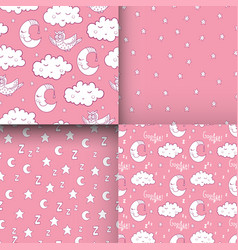 Set of seamless childish pattern with demilune vector