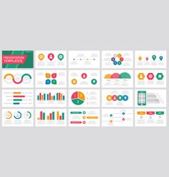 set orange red green and blue elements vector image