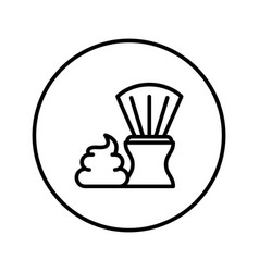 shaving brush and foam icon editable thin line vector image