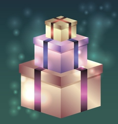 Shiny gift boxes for birthday vector