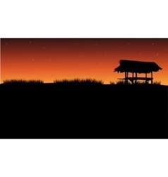 Silhouette of gazebo and grass vector image