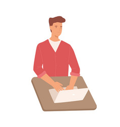 Smiling cartoon male working use laptop on table vector