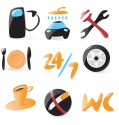 Smooth car service icons vector