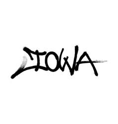 Sprayed iowa font graffiti with overspray in black vector