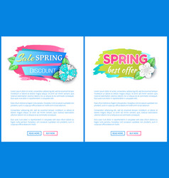 Spring sale discount best offer promotion leaflets vector