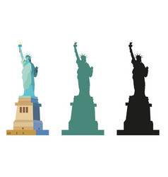 Statue of liberty in color and black vector