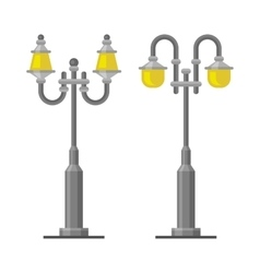 Street Lamp Light Posts Set on White Background vector image