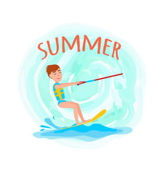 Summer adventure poster kitesurfing happy boy vector