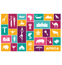 traditional symbols of africa flat icons vector image